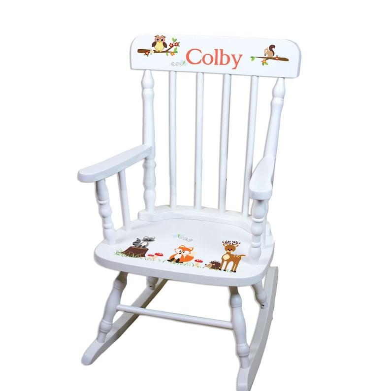 Personalized Rocking Chair Woodland Nursery Furniture Woodland Etsy