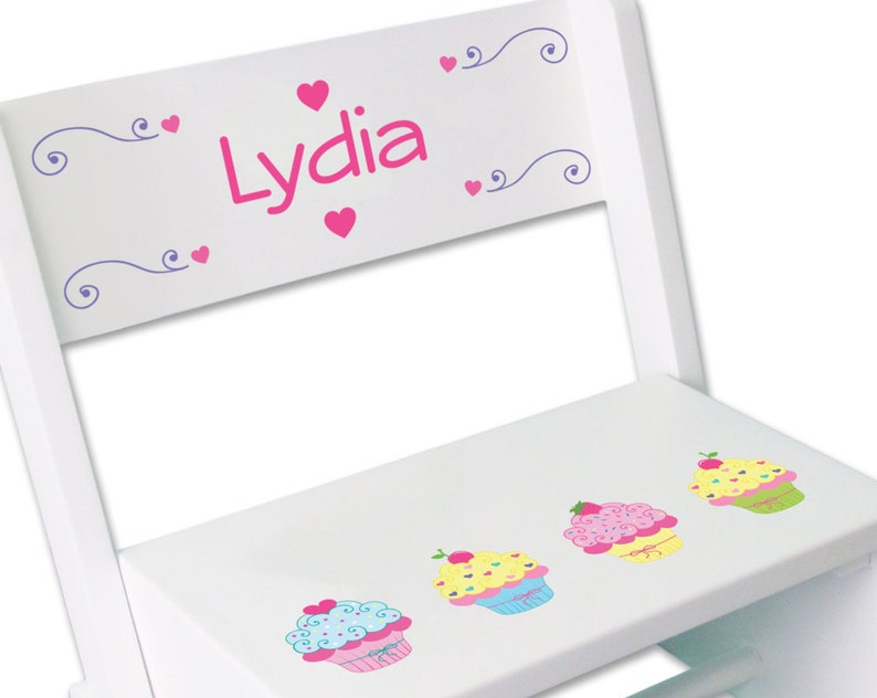 Girls Personalized Cupcake Stool Custom Cup Cake STEP Stool Birthday Gift Child/'s Nursery Bed Room Kitchen Baking Baker Cakes STOO-whi-318