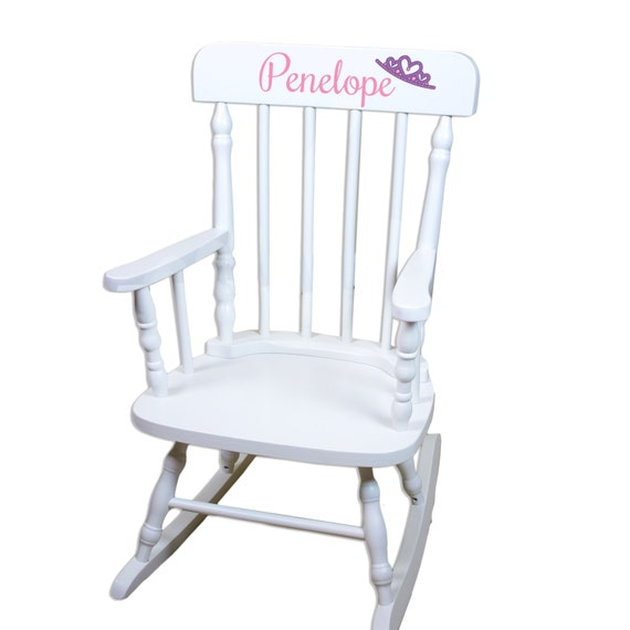 Astonishing Personalized Childs White Rocking Chair W Name Nursery Furniture Toddler Baby Girl Boy Kids Custom Spindal Rocking Chairs Rocker Spin Whi Pabps2019 Chair Design Images Pabps2019Com