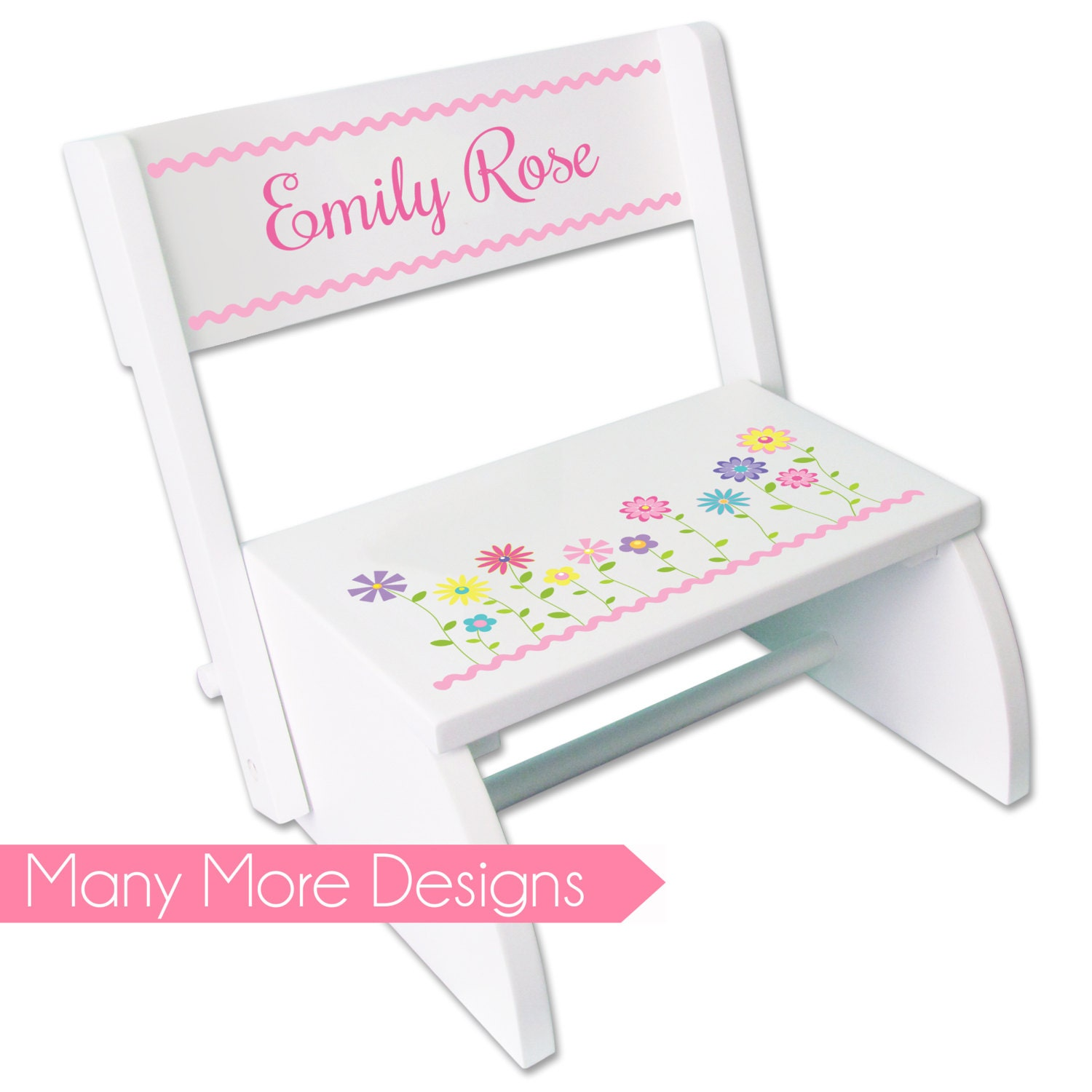 Personalized Girls White Wood Step Stool Folding Chair