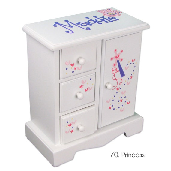 Personalized Princess Jewelry Armoire Hand Painted Girl's ...