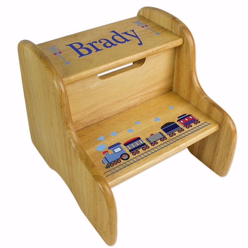 Fabulous Personalized Wood Step Stool Boys Two Step Stools Custom Stepping Stool Great Baby Gift Toddlers Too For Nursery Bed Bath Fixe Nat 202 Ncnpc Chair Design For Home Ncnpcorg