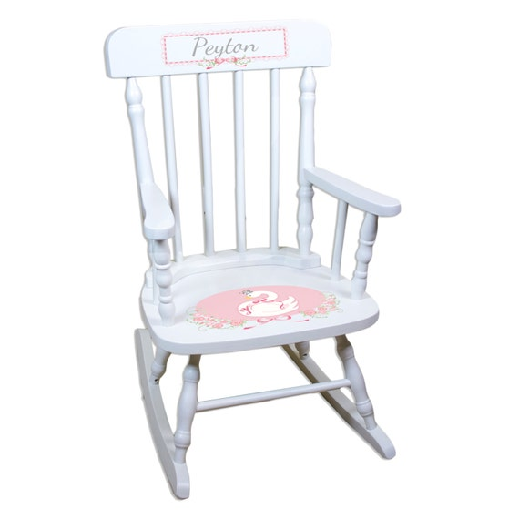 Peachy Baby Girls Personalized Rocking Chair Princess Swan Swan Lake Bed Room Nursery Custom White Childs Rocker Toddlers Chair Rockers Spin Whi Ncnpc Chair Design For Home Ncnpcorg