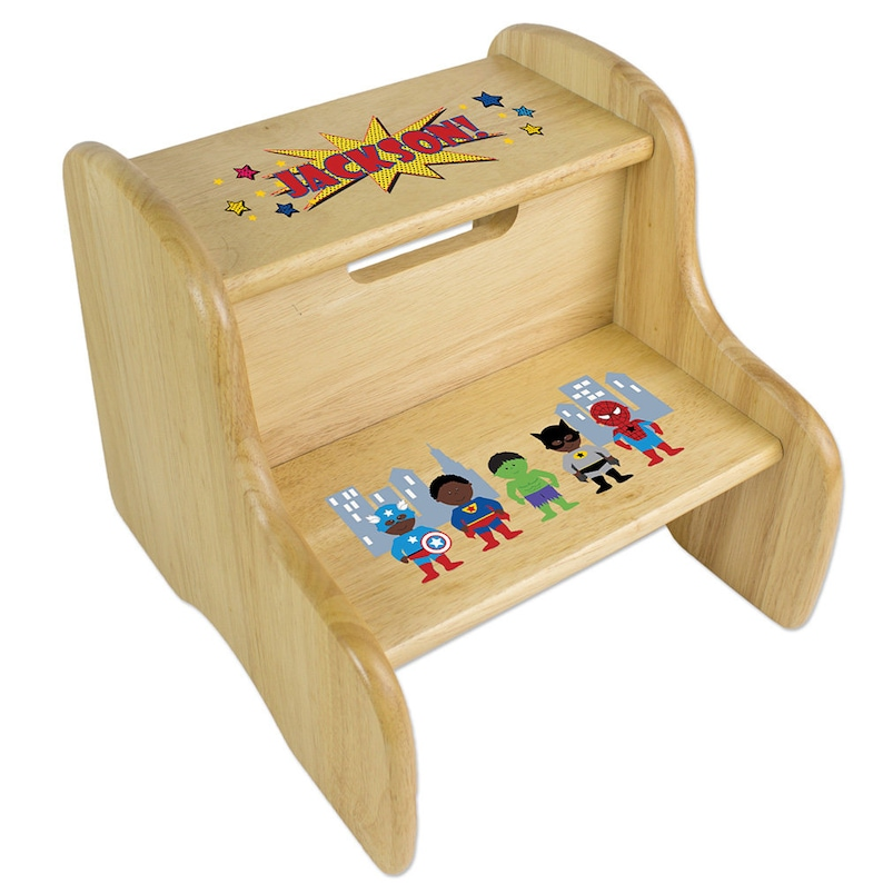 Marvelous Personalized Natural Two Step Stool With African American Super Hero Wooden Stools For Boy Super Heroes Super Man Spiderman Fixe Nat 227C Ocoug Best Dining Table And Chair Ideas Images Ocougorg