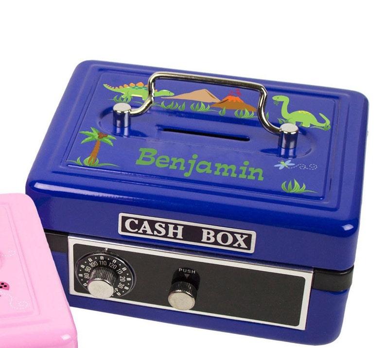 583b34755462 Personalized Child's Blue Cash Box Easter Gift for Boy combination lock  Childrens Metal Safe Coin Lock Bank Locker Safe Deposit Box jar boys