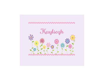 Personalized Stemmed Flowers White Wall Canvas