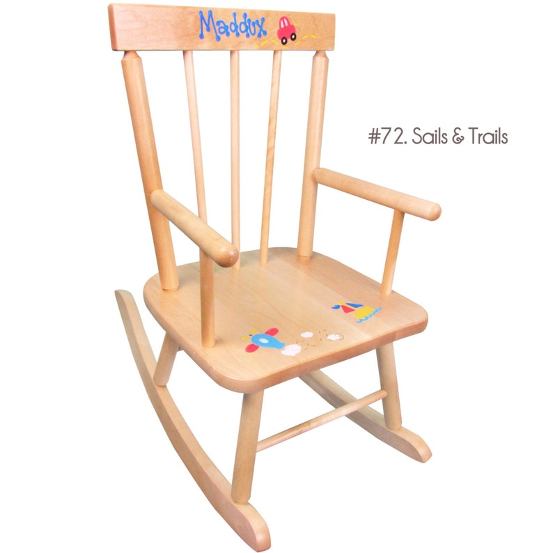 Childs Hand Painted Personalized Rocking Chair for Toddler Boys Natural Wood Rocker Custom Kids Furniture Rocking Chairs Rockers ROCK nat
