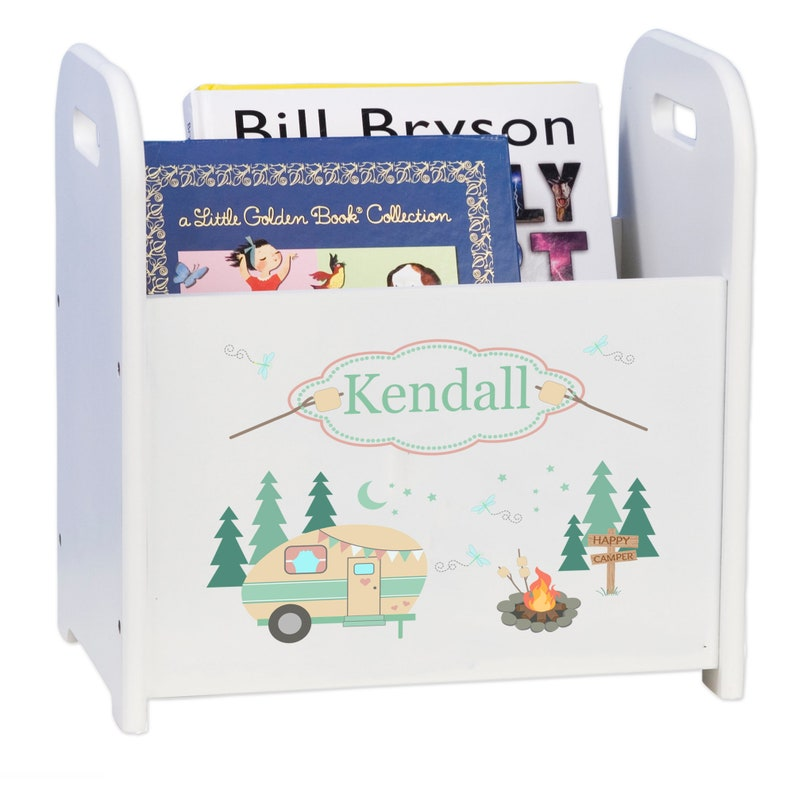 Personalized Camper Magazine Rack RV Book Storage Books Camp Caddy Custom  Holder Library Reading Nook Corner Nursery travel theme CADD-252
