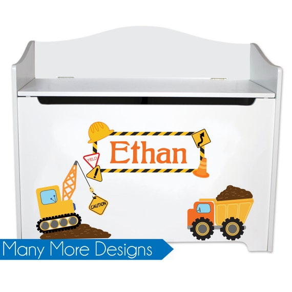 Swell Personalized Toy Box For Boys Kids Toybox Bench Toy Storage Toy Chest In White W Cars Trains Sports Childs Toy Bin Toy Boxes Lid Toys Benc W Ocoug Best Dining Table And Chair Ideas Images Ocougorg