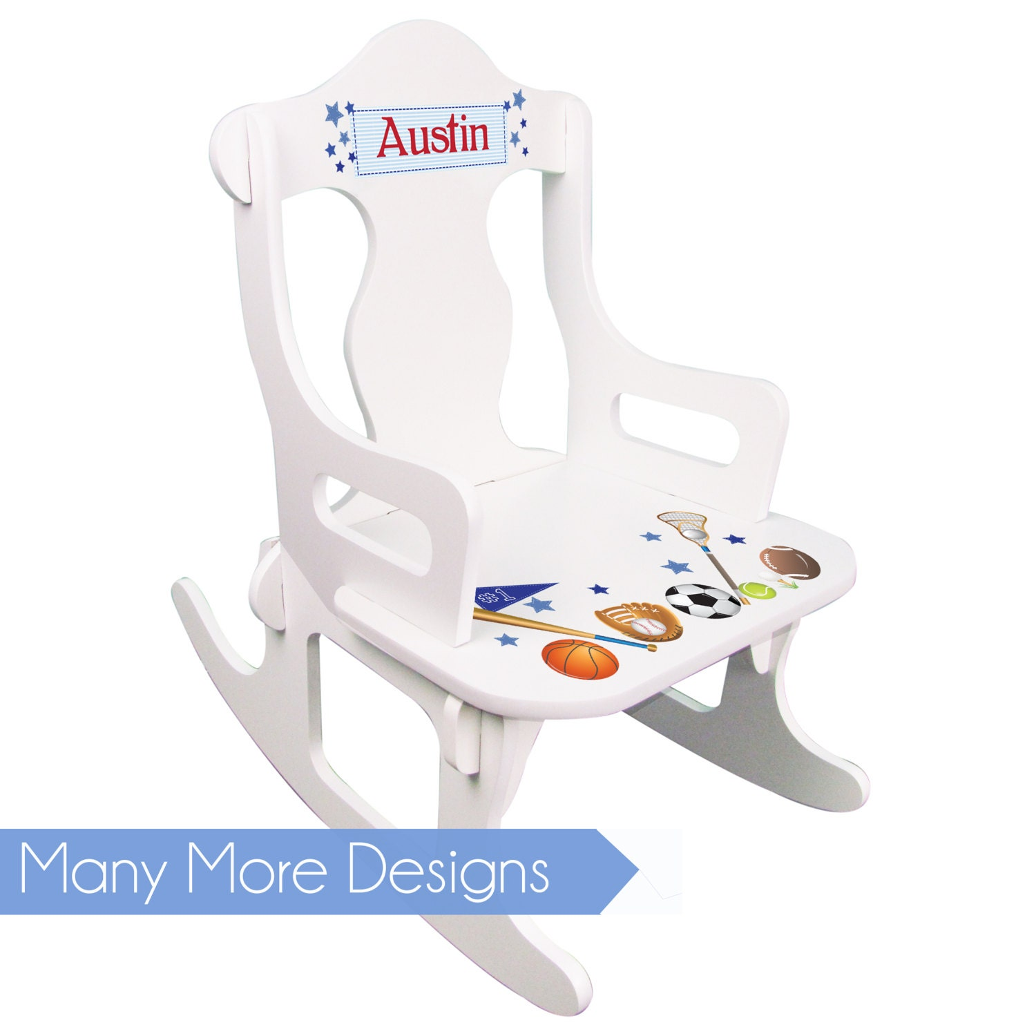 Personalized Toddler Rocking Chair Boys White Puzzle Rocker Kids Sports Construction Sailboat Star Wars Jungle Tractor Cars Planes Owl Puzz