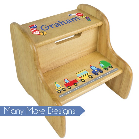 Incredible Personalized Toddler Boys Step Stool Kids Two Steps Childs Stepping Stools Natural Wood Childrens Nursery Furniture Custom Wooden Fixe Nat Theyellowbook Wood Chair Design Ideas Theyellowbookinfo