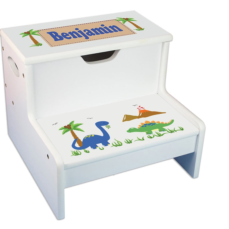 Groovy Personalized Dinosaur Stool For Children Custom Dinosaurs Step Stool With Storage T Rex Bronto Theme Decor Green Boys Boy Dino Step Whi 217 Beatyapartments Chair Design Images Beatyapartmentscom