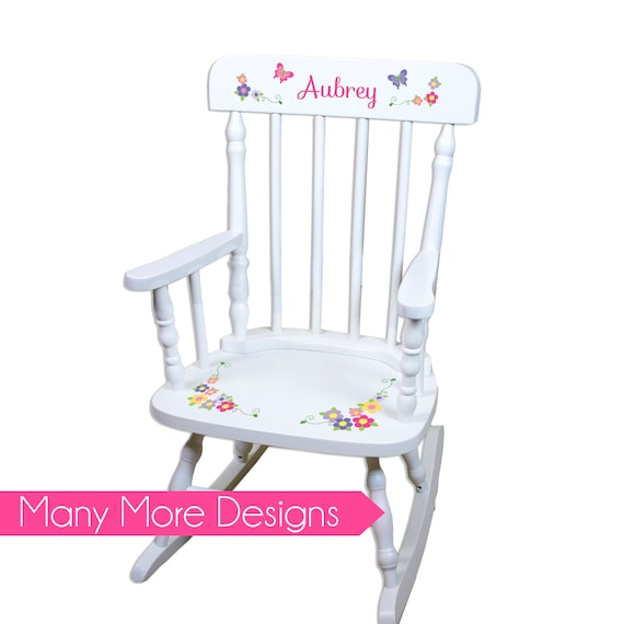 Groovy Childs Rocking Chair Personalized Childs Rockers Childrens Custom Large White Spindle Rocker Nursery Furniture Wood Child Children Spin Whi Machost Co Dining Chair Design Ideas Machostcouk
