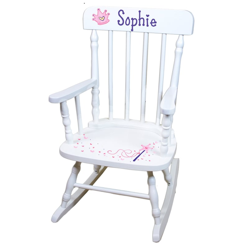 Merveilleux Hand Painted Personalized Princess Rocking Chair White Rocker   Etsy