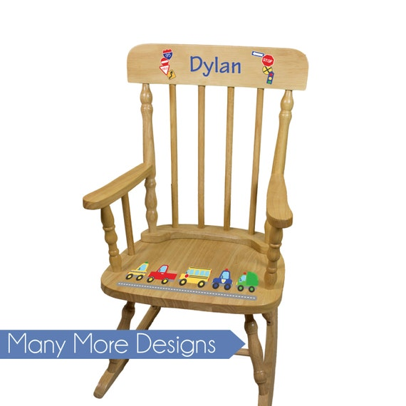 Cool Boys Personalized Wood Rocking Chair Boy Kids Rockers Toddler Baby Custom Spindle Rocker Nursery Furniture Large Chairs Pine Spin Nat Bralicious Painted Fabric Chair Ideas Braliciousco
