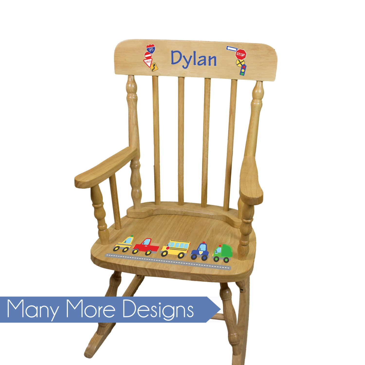 Boys Personalized Wood Rocking Chair Boy Kids Rockers Toddler Baby Custom Spindle Rocker Nursery Furniture Large Chairs Pine Spin Nat
