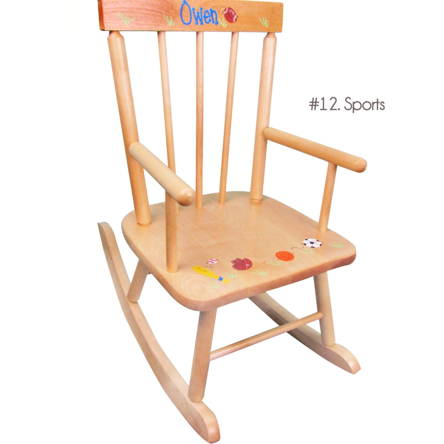 Childs Hand Painted Personalized Rocking Chair For Toddler