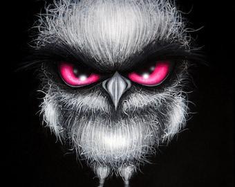 8x10 Print Fantasy Owl Big Pink Eye Whimsical Lowbrow Grumpy Cute Bird Pop Surrealism Art Painting Reproduction Home Decor Natalie VonRaven