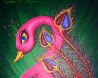 8x10 Print Fantasy Whimsical Lowbrow Pink Peacock Sun Flamingo Cute Bird Pop Surrealism Animal Art Painting Reproduction Natalie VonRaven