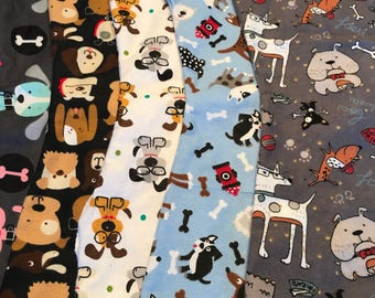 "5 Pack ""dogs"" neutral burp cloths for babies"