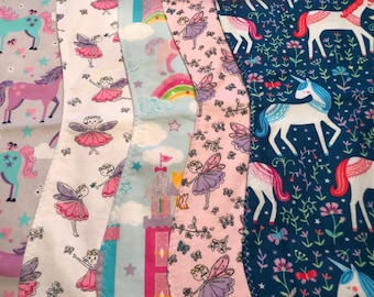 "5 Pack ""fairies and unicorns"" burp cloths for girls"