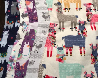 "5 Pack ""llamas and lambs"" burp cloths for girls"