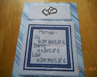 WEDDING SHOWER Card Marriage Anniversary completed cross stitch card Joy Sharing Love
