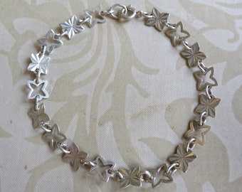 Vintage 80's sterling silver crosses bracelet cut out diamond cut 7.25 inches 925 (10455)