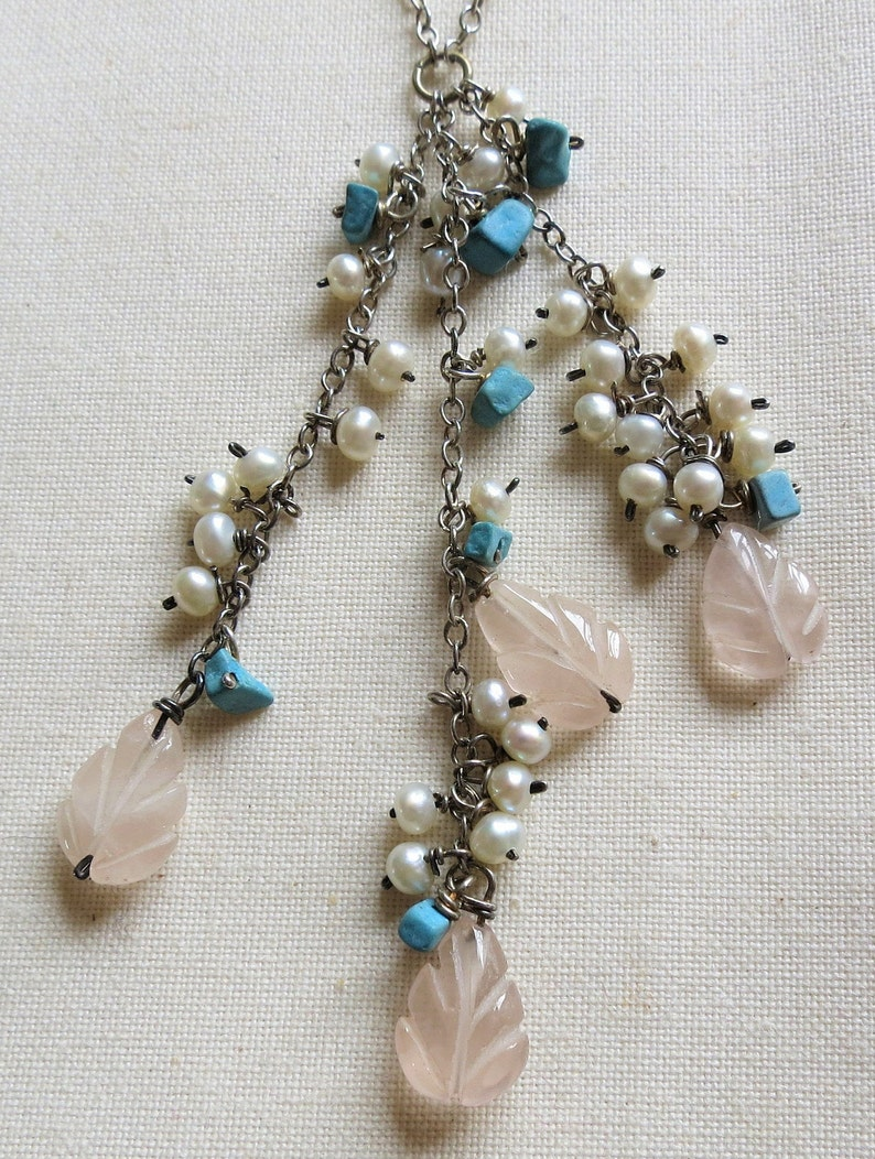 Sterling silver multi-gem gemstone beaded drops necklace 16 fresh water pearl howlite carved rose quartz 925 18683