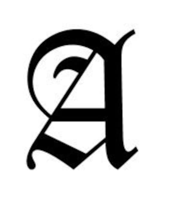 Letter A Old English Lettering Alphabet Vinyl Decal Etsy