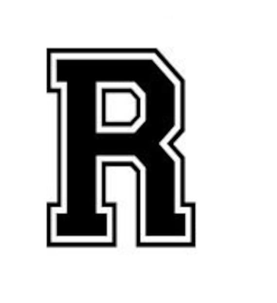 letter r varsity lettering vinyl decal etsy