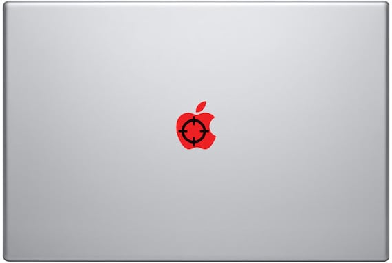 Sniper's Crosshairs Red And Black Cutout Apple Overlay Decal for Macbook