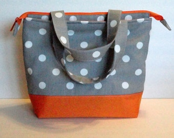 e135479324a1 Lunch Bag Adult Lunch Bag Insulated Womens Lunch Bag Large Zipper Top  Inside. Pockets Grey Polka Dot Choose Your Color Choose Your Size