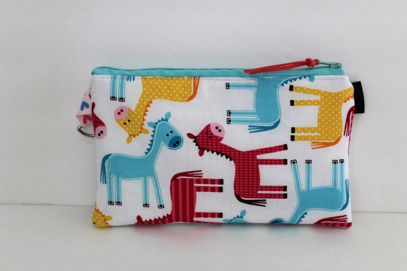 8 x 5 Insulated Pastel Horse Print EpiPen Case Travel Medical Bag Allergy Case EpiPen Zipper Top Water Repellent Lining Snack Bag