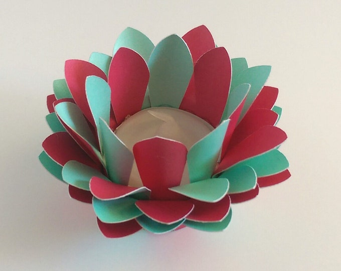 Paper Lotus Lantern -Red and Turquoise-