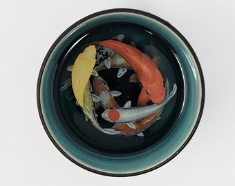 Koi Fish in Turquoise and Brown Cup