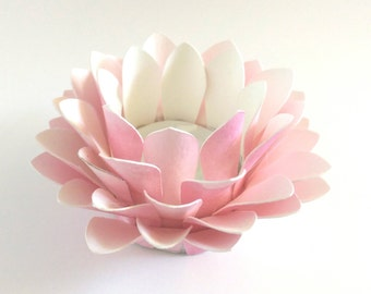 Watercolor Paper Lotus - Pink - Wedding Table Decor - Paper Floral Lantern - Waterlily - Lotus Flower - Tealight holder - Kids Room Decor