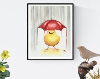 "8"" x 10"" Art Print -Happy Yellow Bird-"