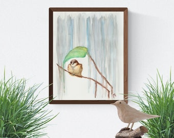 "8"" x 10"" Art Print -Brown Bird in the Rain-"