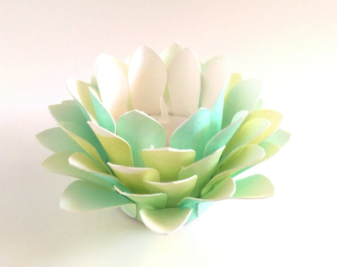 Paper Lotus Lantern -Watercolor Green and Yellow-