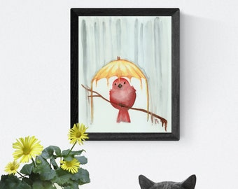 "8"" x 10"" Art Print -Red Bird Yellow Umbrella-"