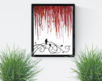 "8""x 10"" Art Print, Red Melted Crayon Art With Bird on a Wire"