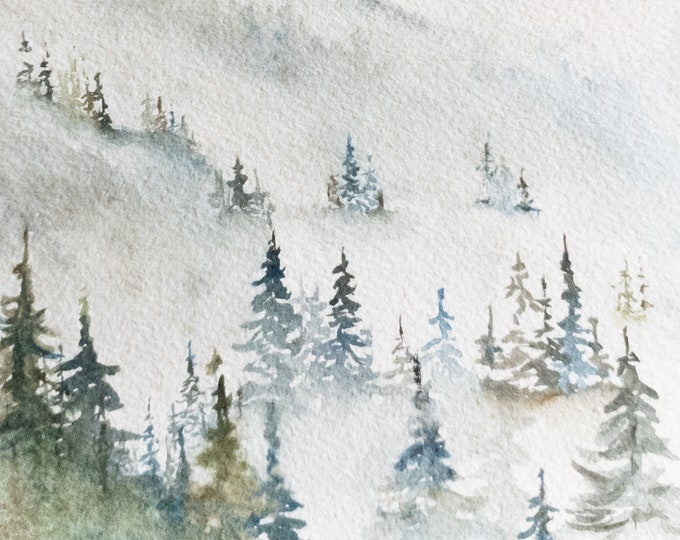 Misty Mountain Original Watercolor