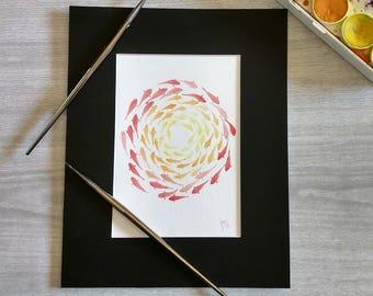 Watercolor -Swirling Fish-
