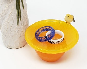 Orange Bird Bath Ring Dish
