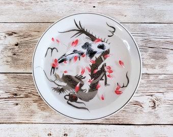 Black and White Koi on Dragon Plate