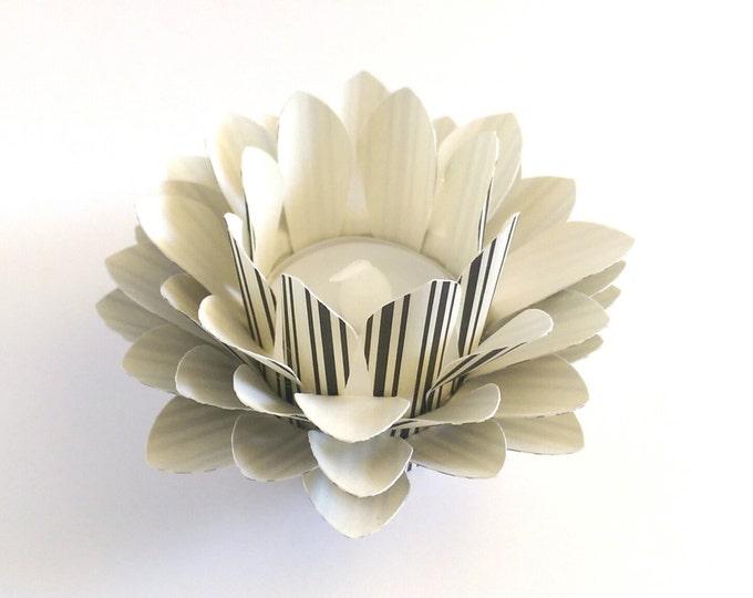 Paper Lotus Lantern -Black and Cream Stripe-