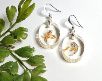 Resin Oval Orange Koi Earrings