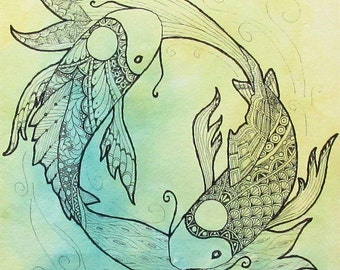 "8"" x 10"" Art Print -Yin Yang Zentangle Koi-"