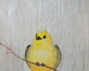 "8"" x 10"" Art Print  -Yellow Bird in the Rain-"